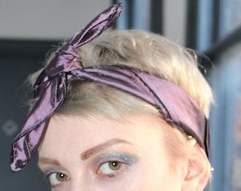 Handmade purple satin head neck scarf rockabilly punk grunge