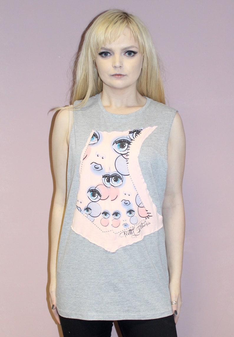Pretty Disturbia handmade grey pink eyeball print slouchy tunic boho top punk grunge dress top