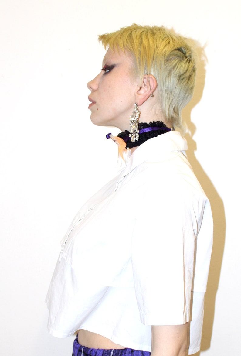 Handmade Pretty Disturbia Harajuku Ghost White Orange Purple Lace Choker Necklace