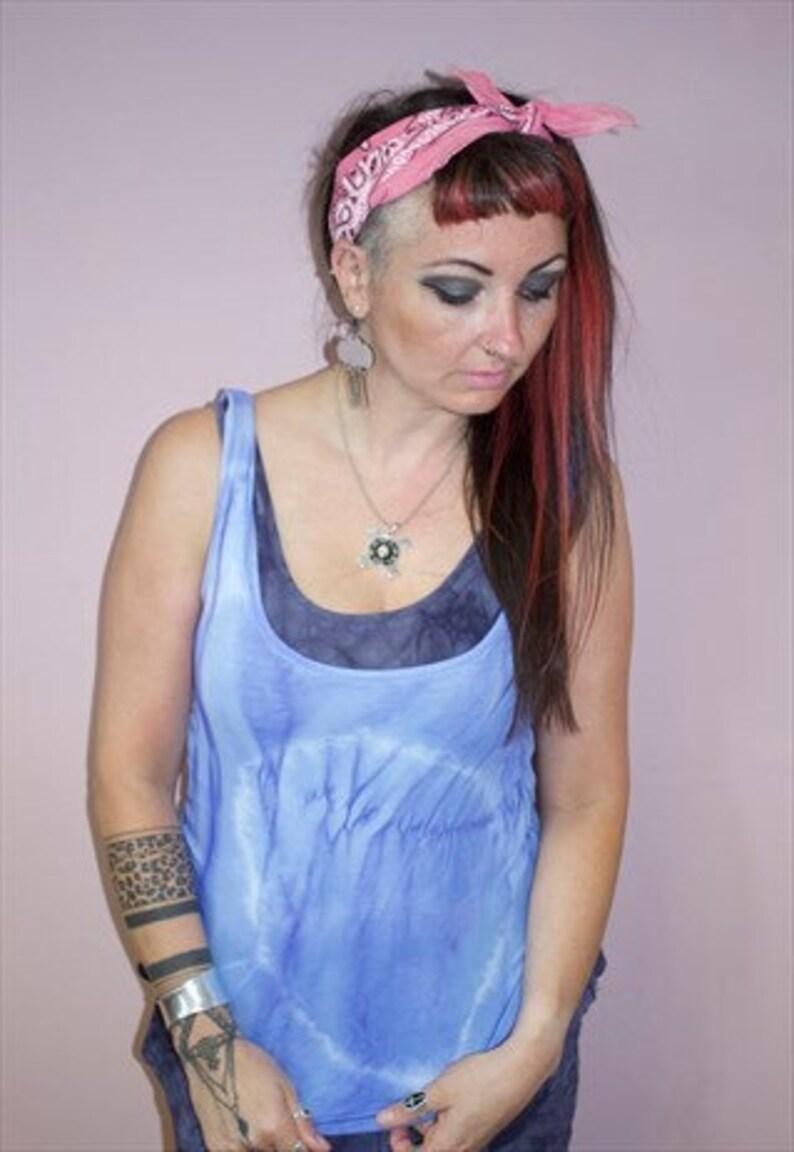 Pretty Disturbia hand dyed boho festival blue cotton tie dye vest