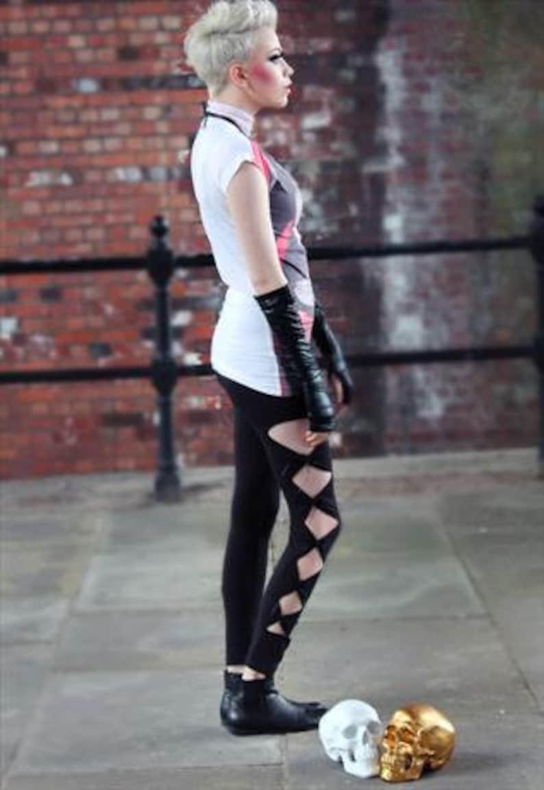 Pretty Disturbia Punk Grunge Black Cut Out Leggings
