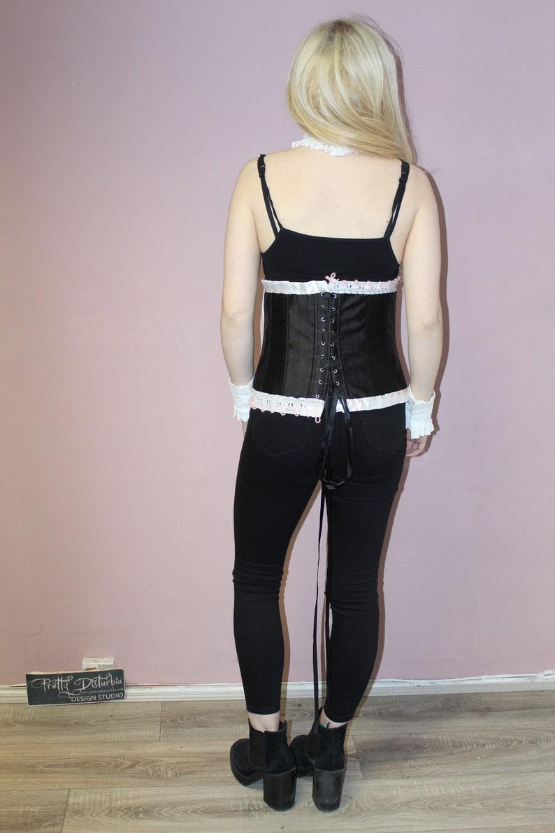 Pretty Disturbia Black Patchwork White Trim Burlesque Style Corset