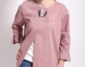 Chrysalis jacket with ruffle sleeves available in pink or black