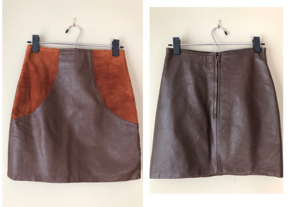 vintage 60's TWO TONED LEATHER mini skirt - small