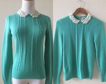 vintage 80's TEAL SWEATER with lace knit PETERPAN collar - extra small, small