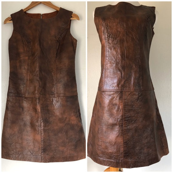 vintage 60's MOD LEATHER SCOOTER dress - small