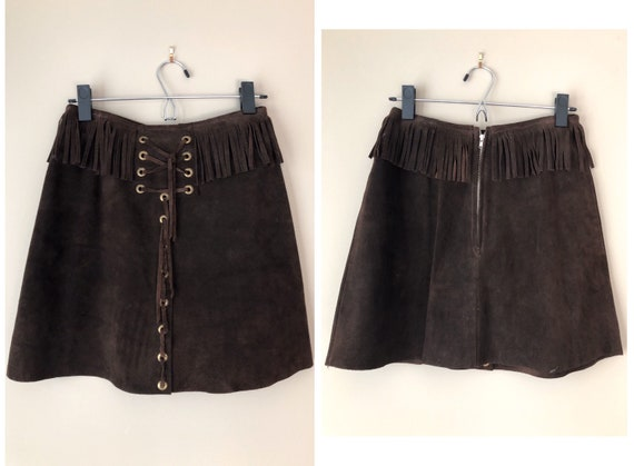 vintage 60's BROWN SUEDE FRINGE mini skirt - small