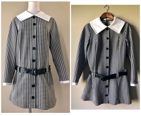 vintage 60's CHECKERED SCOOTER DRESS - small, medi
