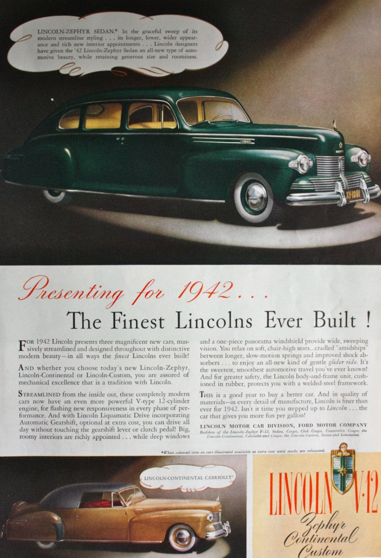 1942 Ad Lincoln V 12 Zephyr Continental Custom Sedan Car Etsy