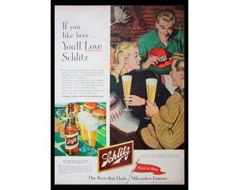 1952 Ad Schlitz Beer Milwaukee Wisconsin, Bar Art, Vintage Print Ad ETK317