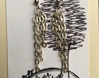 Silver chain dangle earrings