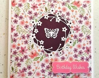 Purple Greetings Card, Happy Birthday Card, Butterfly Card, Flower Card, Special Day, Birthday, Birthday Card For Her, Greetings Card
