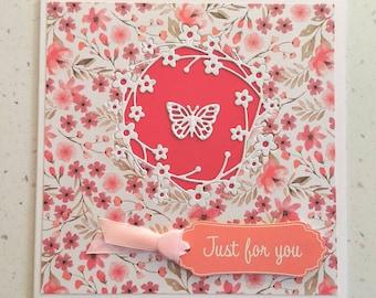 Pink Greetings Card, Happy Birthday Card, Butterfly Card, Flower Card, Special Day, Birthday, Birthday Card For Her, Greetings Card