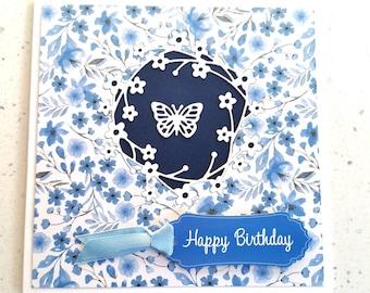 Blue Greetings Card, Happy Birthday Card, Butterfly Card, Flower Card, Special Day, Birthday, Birthday Card For Her, Greetings Card