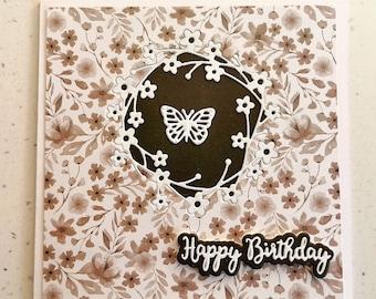 Brown Greetings Card, Happy Birthday Card, Butterfly Card, Flower Card, Special Day, Birthday, Birthday Card For Her, Greetings Card