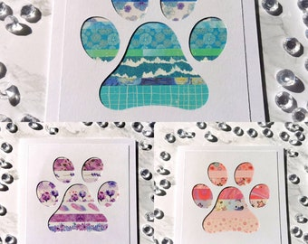 Paw Print Greetings Card , Greetings Card, Blank Card, Animal Card, Birthday Card, Paws Card, Dog Card, Puppy Card, Cat Card