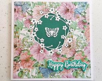 Green Greetings Card, Happy Birthday Card, Butterfly Card, Flower Card, Special Day, Birthday, Birthday Card For Her, Greetings Card