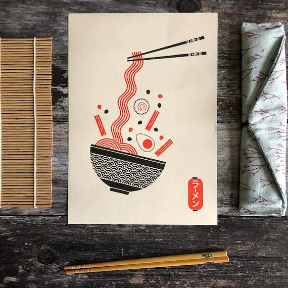 Ramen Bowl Risograph Graphic Pattern A4 Print
