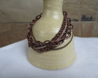 Multi Chain Bracelet - Chocolate Brown and Ivory / Cream