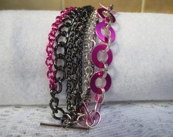 Black, Silver and Fuschia Multi Chain Bracelet