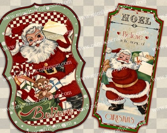 Printable Christmas Santa, Digital Download, Christmas Gift Tags, Christmas decor prints, Christmas SANTA tags