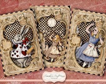 Alice in Wonderland Card. Digital Paper 4x6 inches  instant download printable images digital collage sheet background scrapbook paper cards