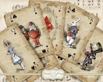 Alice in Wonderland playing cards printable digital collage sheet
