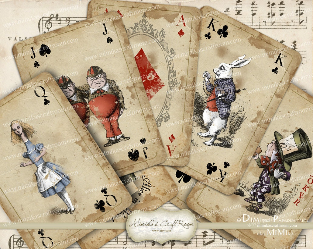 alice in wonderland playing cards printable digital collage | etsy