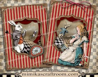 Alice in Wonderland Digital Collage Sheet, ACEO cards, digital paper, Alice party, printable paper, Instant Download, scrapbook images