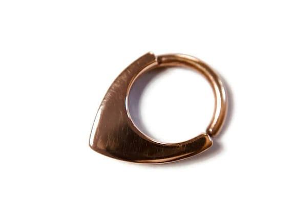Triangle Hoop Septum Helix Tragus Daith Rook Conch Nostril Solid 14 Karat Rose Gold Chevron Septum Ring