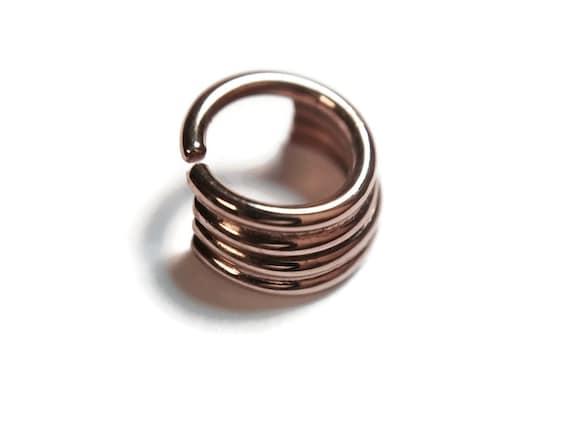 Solid 14 Karat Rose Gold Quadruple Straight Stacked Septum Ring