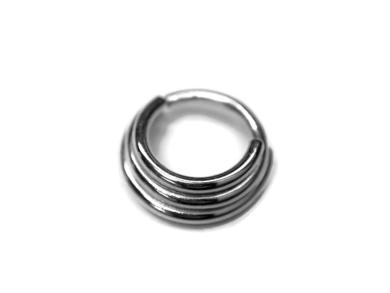 Triple Stack Septum Ring in Sterling Silver  Three Layered image 1