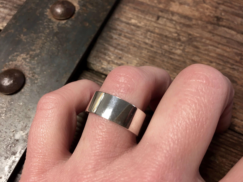 8mm Men /& Women Sterling Silver Plain Flat Wedding Band Ring