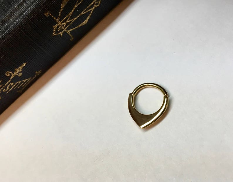 Mini Gold Shield Septum Ring ~ Small Blade Septum Hoop ~ Geometric Fin Body Jewelry ~ 3mm Shield ~ Yellow Gold Dipped Sterling Silver