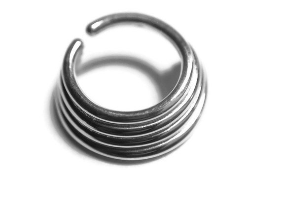 Blue Colorline PVD Quad Twist Spiral Ring Sold Individually