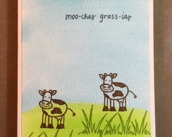 Thank You Card Set Moo-chas Grass-ias Cows Set of 8