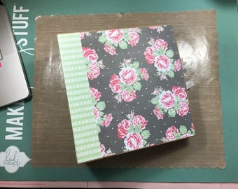 Shabby Chic Photo Album Scrapbook Handmade Pink & Mint Floral