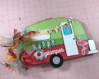 Happy Glamper Mini Scrapbook Chipboard Photo Album