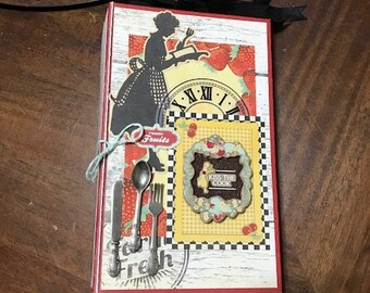 Kiss the Cook Mini Paperbag Scrapbook Album Recipe Cook Book