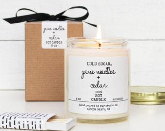 Pine Needles + Cedar Scented Soy Candle - 8 oz Candle - Soy Candle Gift | Holiday Scented Candle | Pine Scented Candle | Woodsy Scented