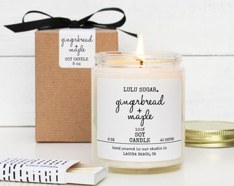 Gingerbread + Maple Scented Soy Candle - 8 oz jar | Scented Candle Gift | Fall Candle Gift | Holiday Scented Candle | Gingerbread Scented