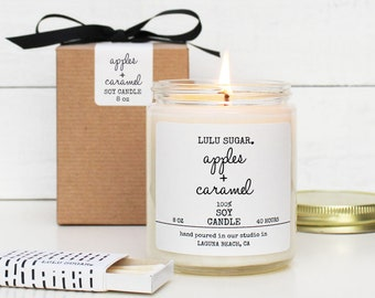 Apples + Caramel Scented Soy Candle - 8 oz jar | Fall Scented Candle Gift | Fall Candle Gift | Holiday Scented Candle | Apple Scented Candle