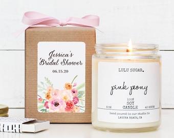 Sugar Scrub Favors - Floral Bouquet Label |  Bridal Shower Favors |  Baby Shower Favors | Soy Candle Favors |  Rustic Favors - Set of 6