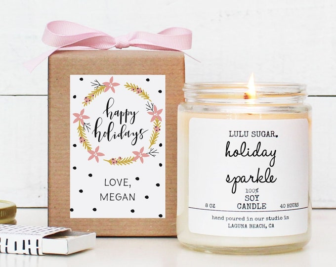 Personalized Holiday Candle   Christmas Gift   Christmas Candle   Christmas Decor   Holiday Candle   Send Christmas Gift   Happy Holidays