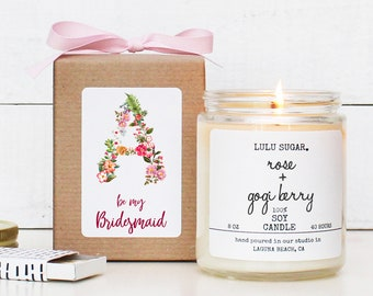 Monogram Bridesmaid Proposal Gift  | Maid of Honor Proposal Gift| Monogram Bridal Party Gift | Monogram Candle| Bridesmaid Monogram Gift Box