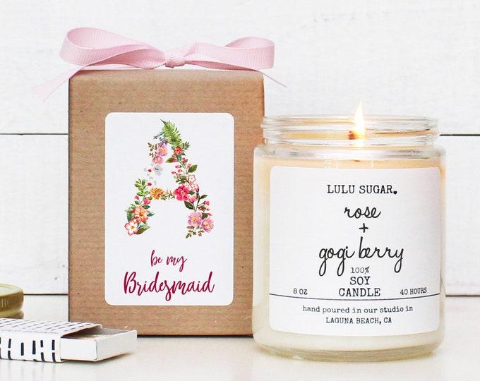 Monogram Bridesmaid Proposal Gift    Maid of Honor Proposal Gift  Monogram Bridal Party Gift   Monogram Candle  Bridesmaid Monogram Gift Box