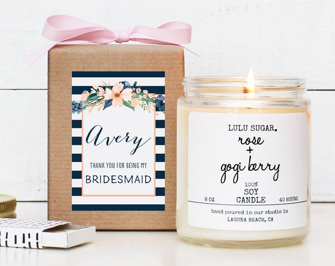 Bridesmaid Proposal Gift | Bridesmaid Candle | Bridesmaid Proposal Box | Bridesmaid Thank You Gift | Maid of Honor Proposal - Avery Label