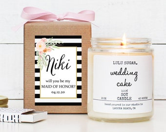 Will you be my Bridesmaid Gift | be my Maid of Honor Gift | Floral Bridesmaid Gift | Floral Bridesmaid Candle - Niki Label Design
