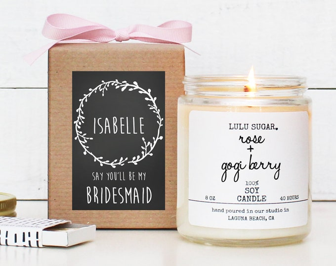 Personalized Bridesmaid Gift | Maid of Honor Gift | Floral Bridesmaid Gift | Bridesmaid Proposal Gift | Chalkboard Laurel Label