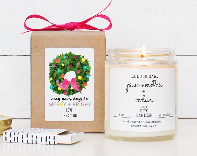 Personalized May Your Days Be Merry and Bright Candle | Christmas Gift | Christmas Decor | Holiday Candle | Send A Christmas Gift